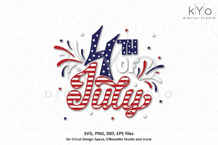 4th of July Hand Lettered Svg Png Dxf Eps