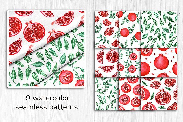 Watercolor pomegranate pattern 1