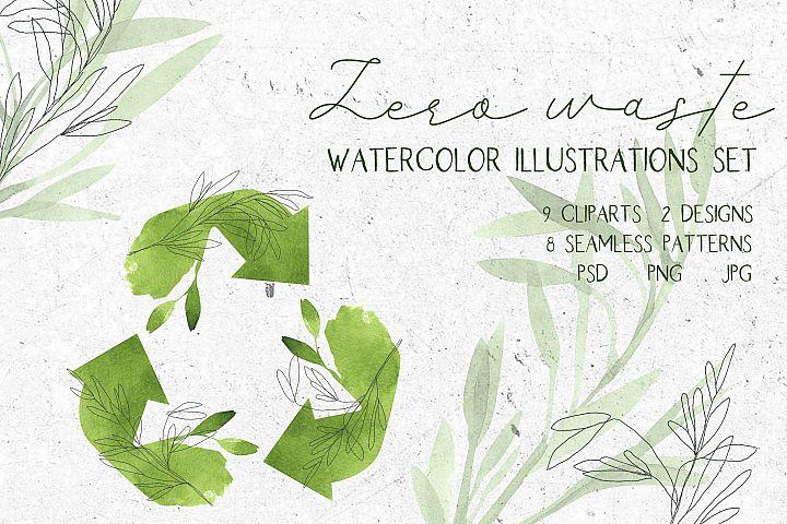 Zero waste. Watercolor illustrations set