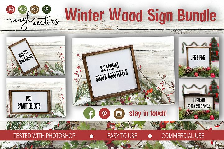 Winter Wood Sign Mock up Bundle PSD JPG PNG