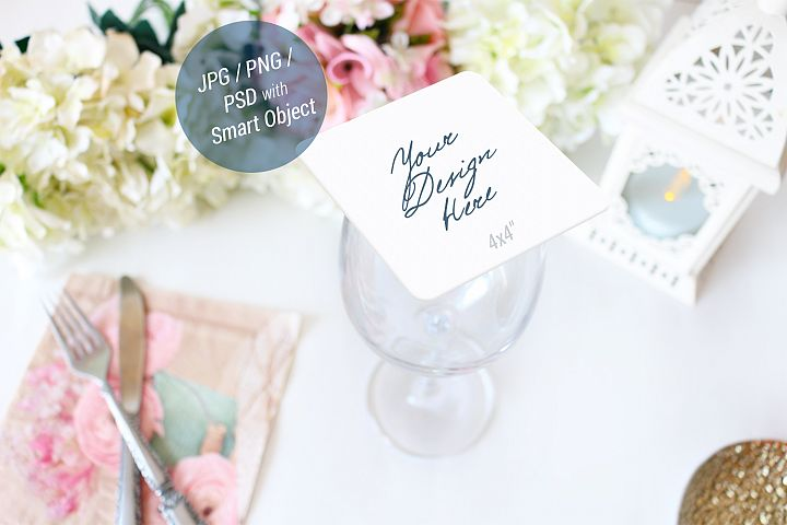 Drink Coaster Mockup, Wedding Mockup, Square coaster, 944_B