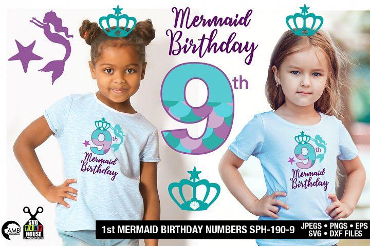 Mermaid Birthday Numbers 9th birthday svg, SPH-190-9