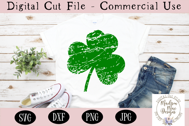 Distressed and Plain Shamrock SVG Duo, St. Patricks Day SVG
