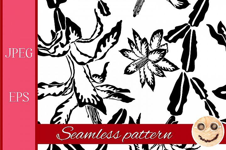 Blooming cactus jumbo black and white pattern.