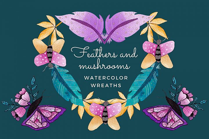 Watercolor butterfly wings and mushroom art wreaths