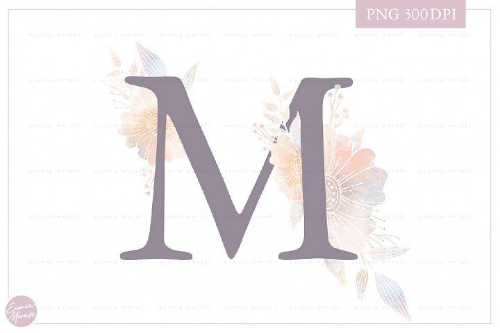 MONOGRAM Letter M Elegant Floral Monogram - Flower alphabet