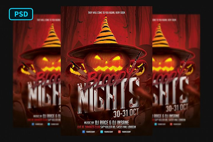 Halloween Flyer Template Bloody Nights