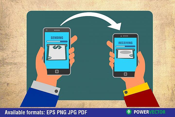 Smartphones sending and receiving money vector illustration