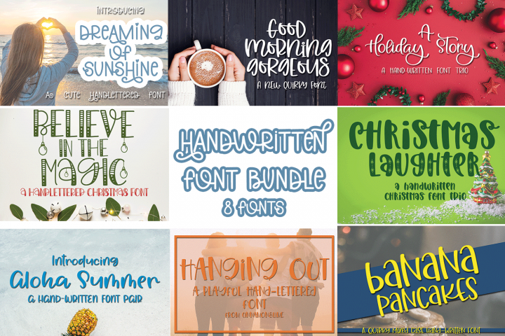 Handwritten Font Bundle - 8 Fonts