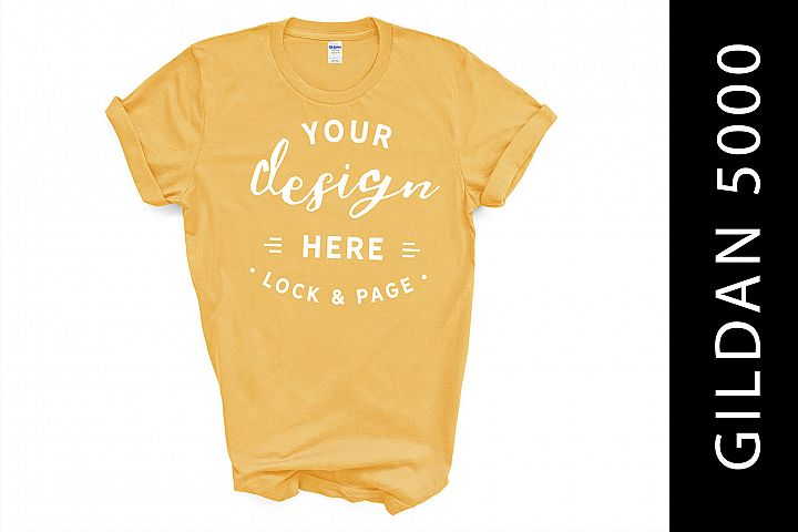 Yellow Haze Gildan 5000 TShirt Mockup On White Background