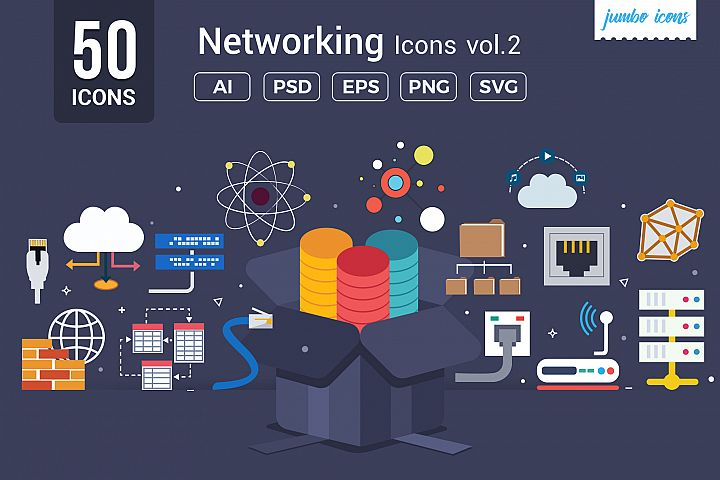 Flat Vector Icons Networking Pack V2