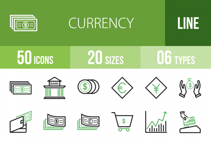 50 Currency Line Green & Black Icons