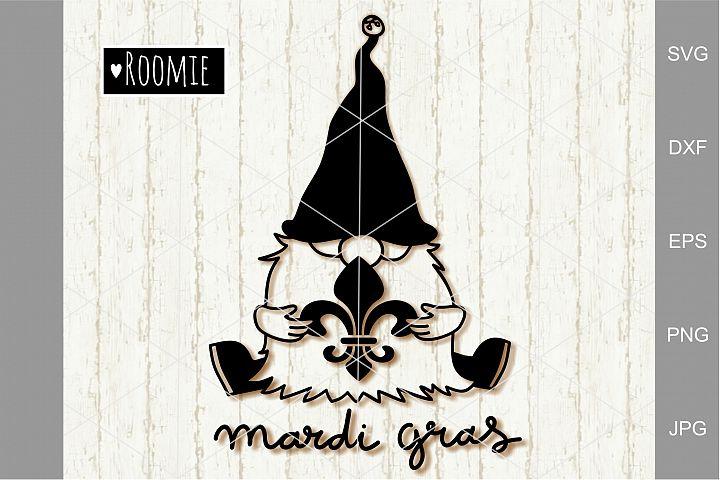 Mardi Gras Gnome Svg, Fat Tuesday Svg, Fleur de Lis Clipart