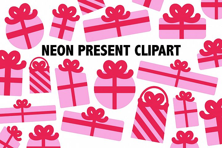Neon Pink Present Clipart