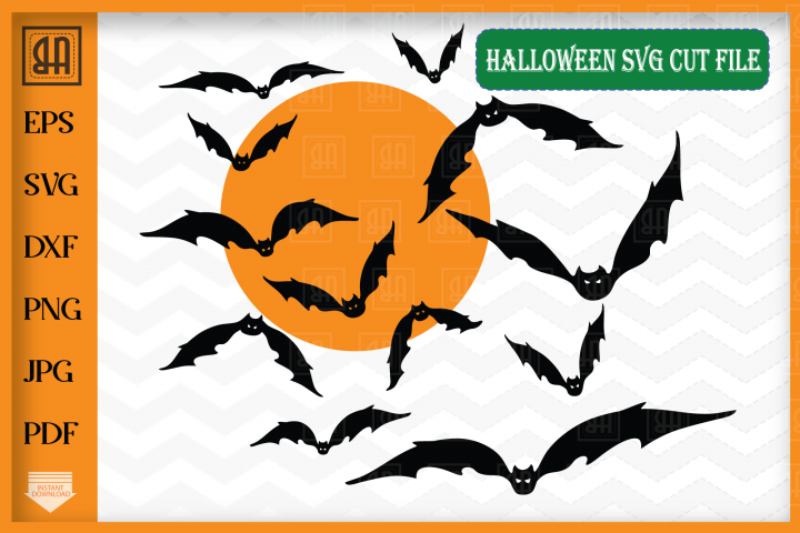 Halloween Bats svg - Bats and Moon svg - Bats svg