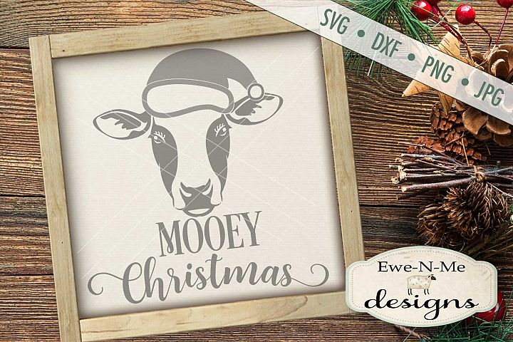 Mooey Christmas Cow With Santa Hat SVG DXF Files
