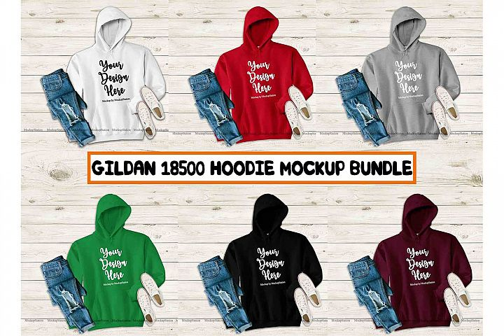 Hoodie Mockup Bundle, Fall Gildan 18500 Mock Up 6 Colors