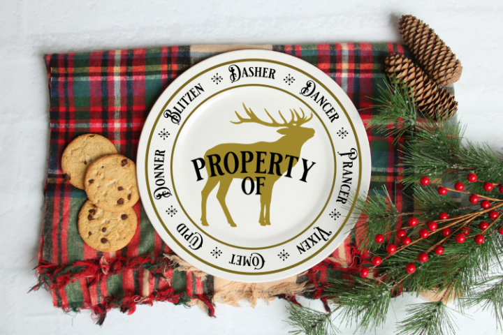Christmas Reindeer Plate SVG cut file