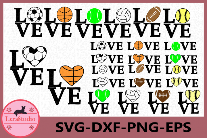 Love SVG, Sport Ball svg, Love Sport Monogram svg, Cricut