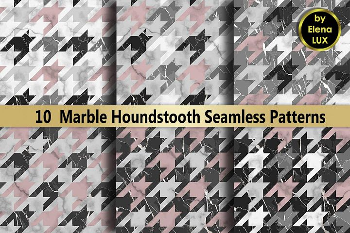 10 Marble Houndstooth Seamless Set