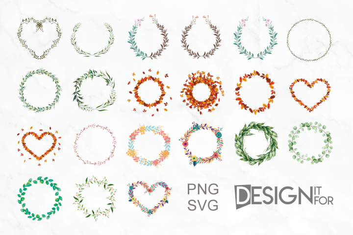 21 Floral and Greenery Wreath Svg Png Cliparts