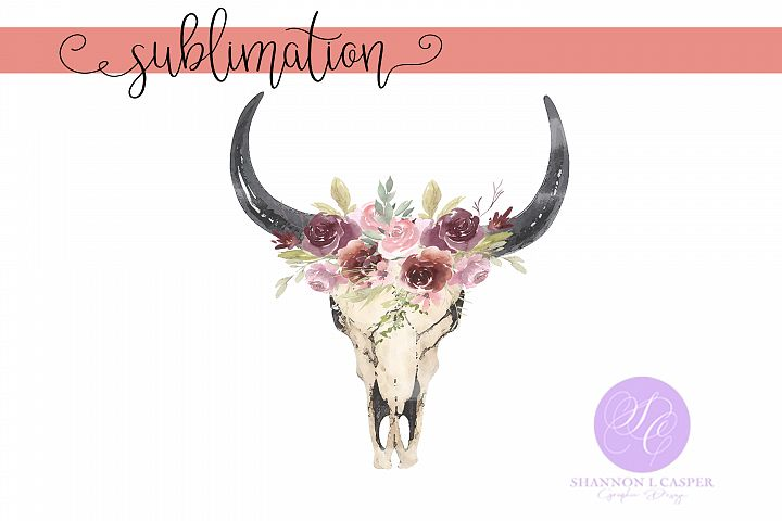 Boho Cow Skull with Watercolor Flowers