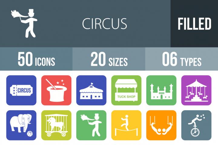50 Circus Filled Round Corner Icons