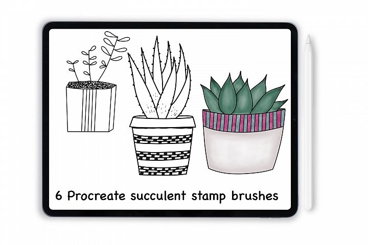 Procreate succulent stamp brushes for iPad and iPad Pro