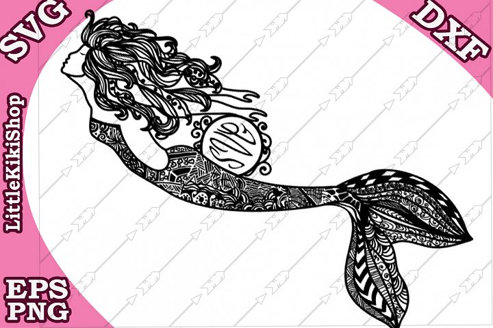 Zentangle Mermaid Monogram Svg, mandala Mermaid Svg, Mermaid