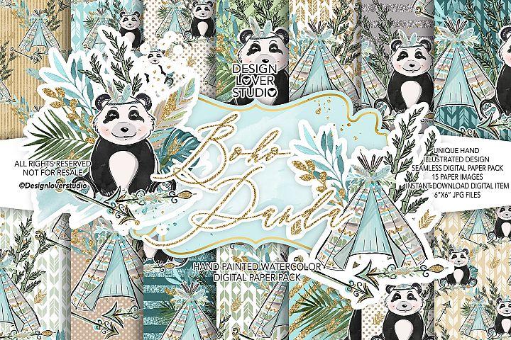 Boho Panda Cute digital paper