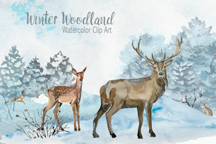 Watercolor Winter Woodland Clip Art Set