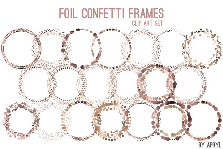 Brown Gold Foil Round Confetti Frames