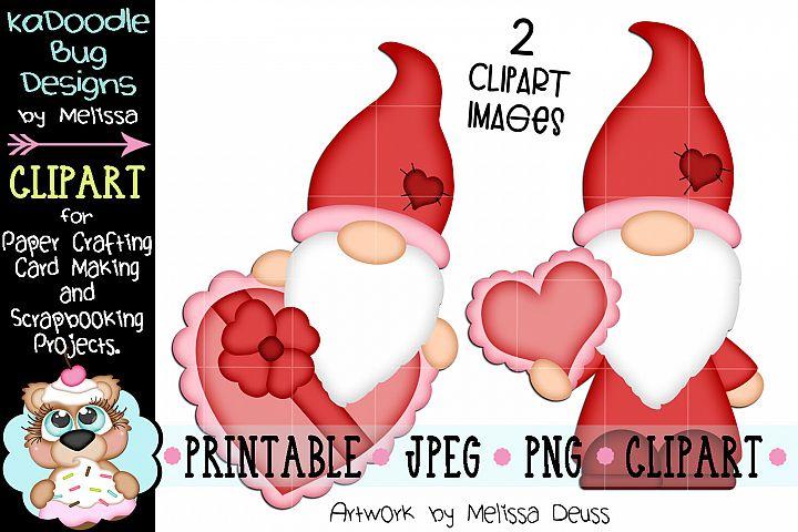 Valentine Gnomes Clipart - 2 JPEG PNG Print Then Cut Clipart