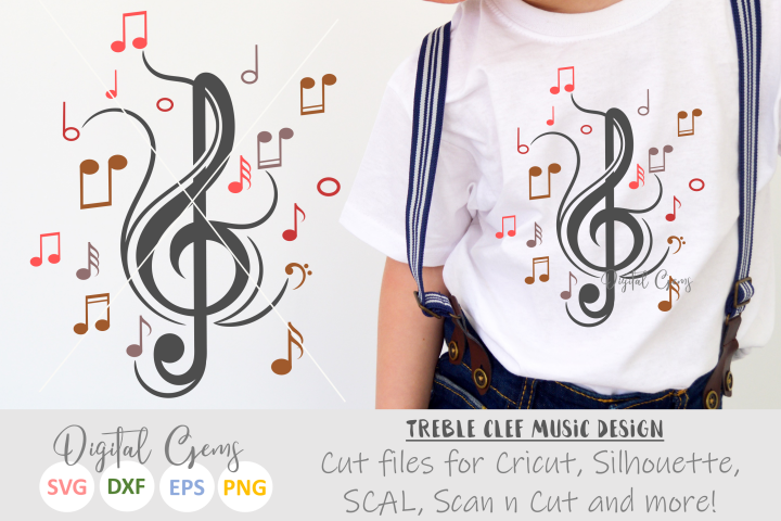 Treble clef with music notes SVG / DXF / EPS / PNG files