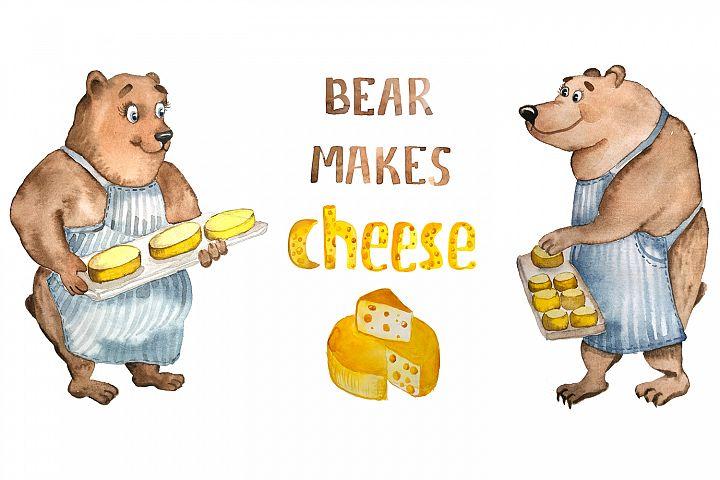 Bear makes cheese - watercolor character