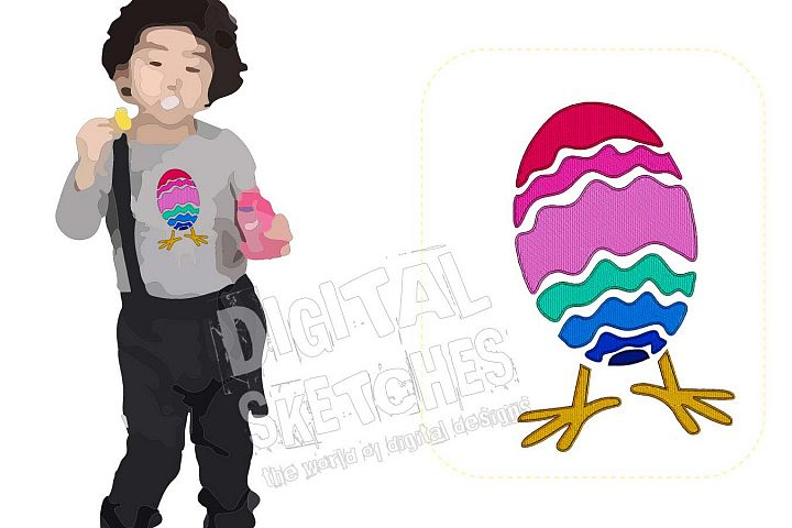 Easter Egg Machine Embroidery Design Chick Chicken 3 Sizes