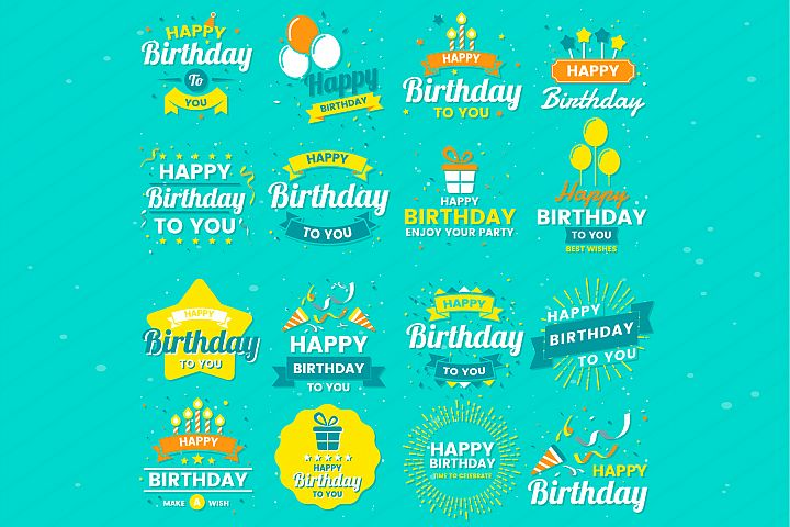 Happy Birthday Badge & Objects Vector Set