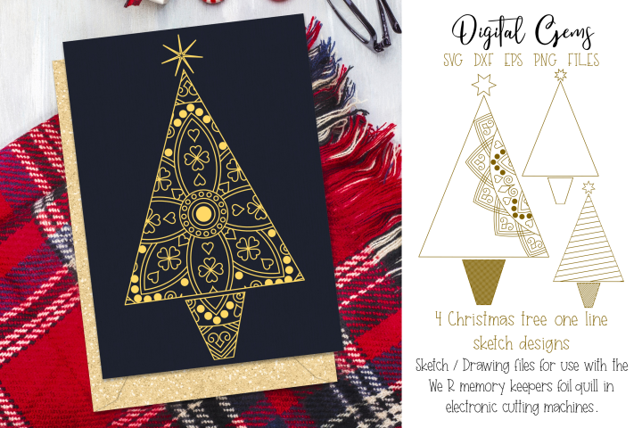 Christmas tree foil quill / sketch single line files
