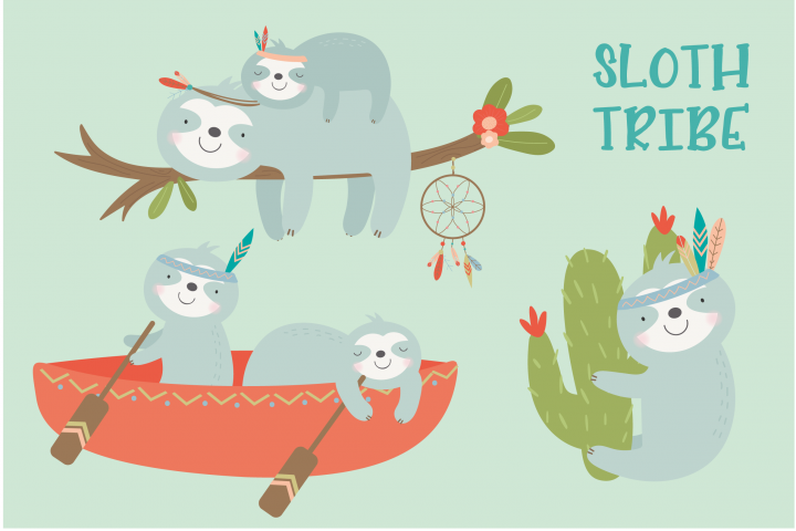 SLoth TRibe clipart and paper set