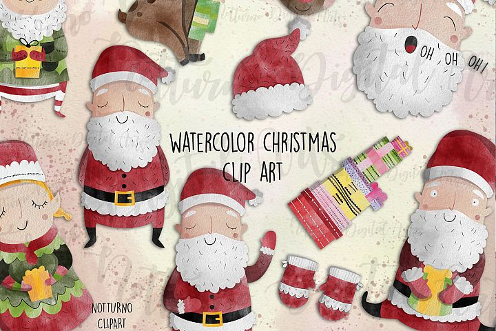 Watercolor Christmas Clipart | 12 clipart.