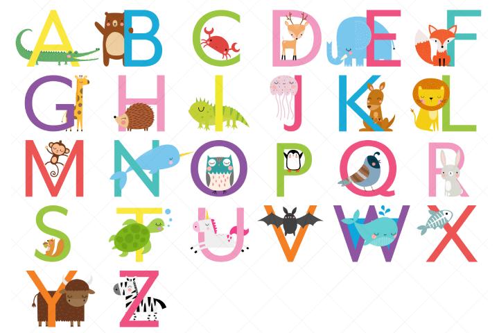 Animal Alphabet Clipart, Uppercase Letters
