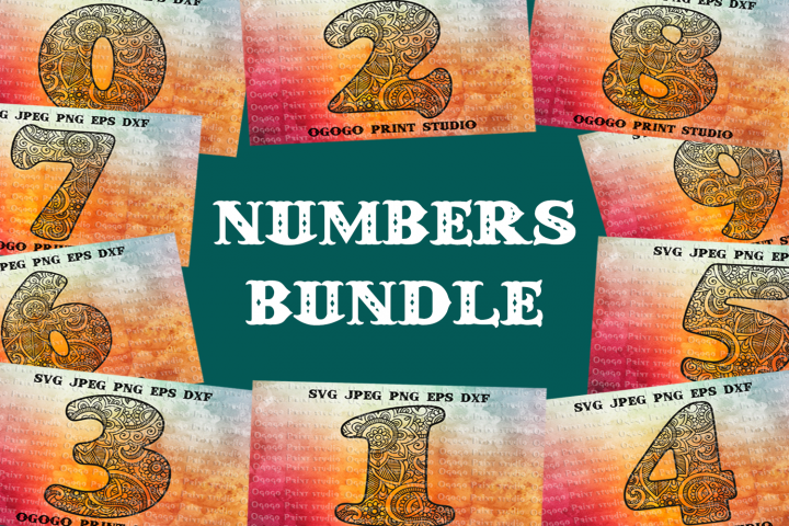 Numbers Svg BUNDLE, Number svg, Mandala svg, Floral font