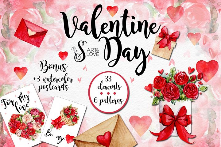 Watercolor collection Valentine Day
