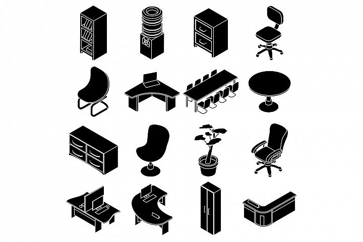 Office furniture icons set, simple isometric style