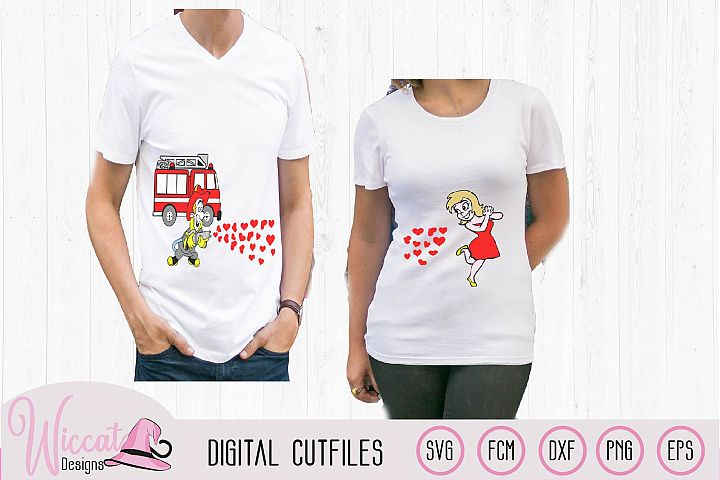 Valentine Fire Truck Couple shirt svg, Fire man svg