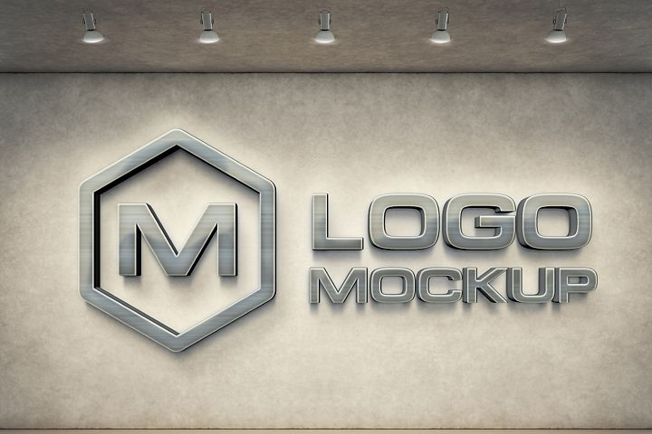 7 logo mockups, 3d wall mock up