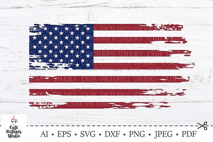 American flag distressed. 4th of July SVG. Independence Day.