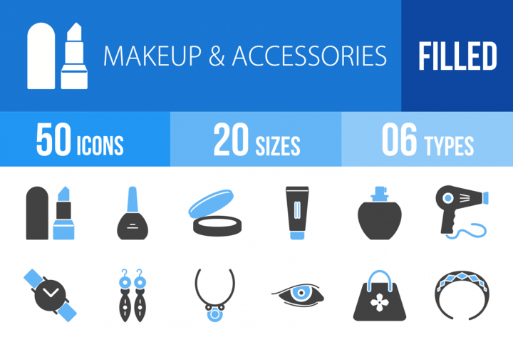 50 Makeup & Accessories Filled Blue & Black Icons