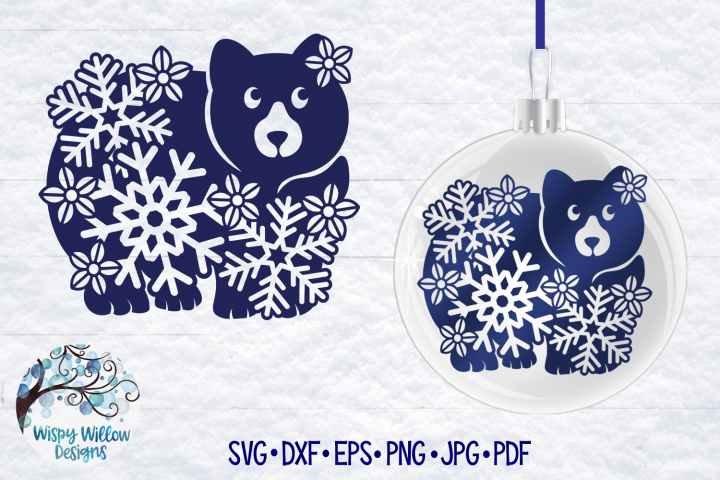 Winter Bear SVG | Bear with Snowflakes SVG Cut File