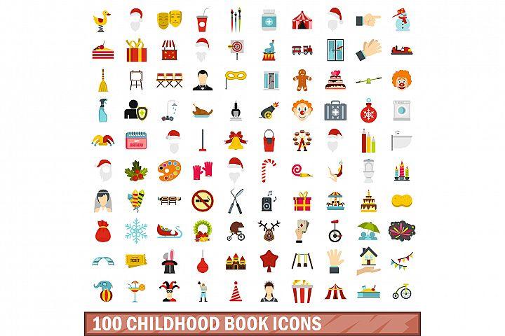100 childhood book icons set, flat style